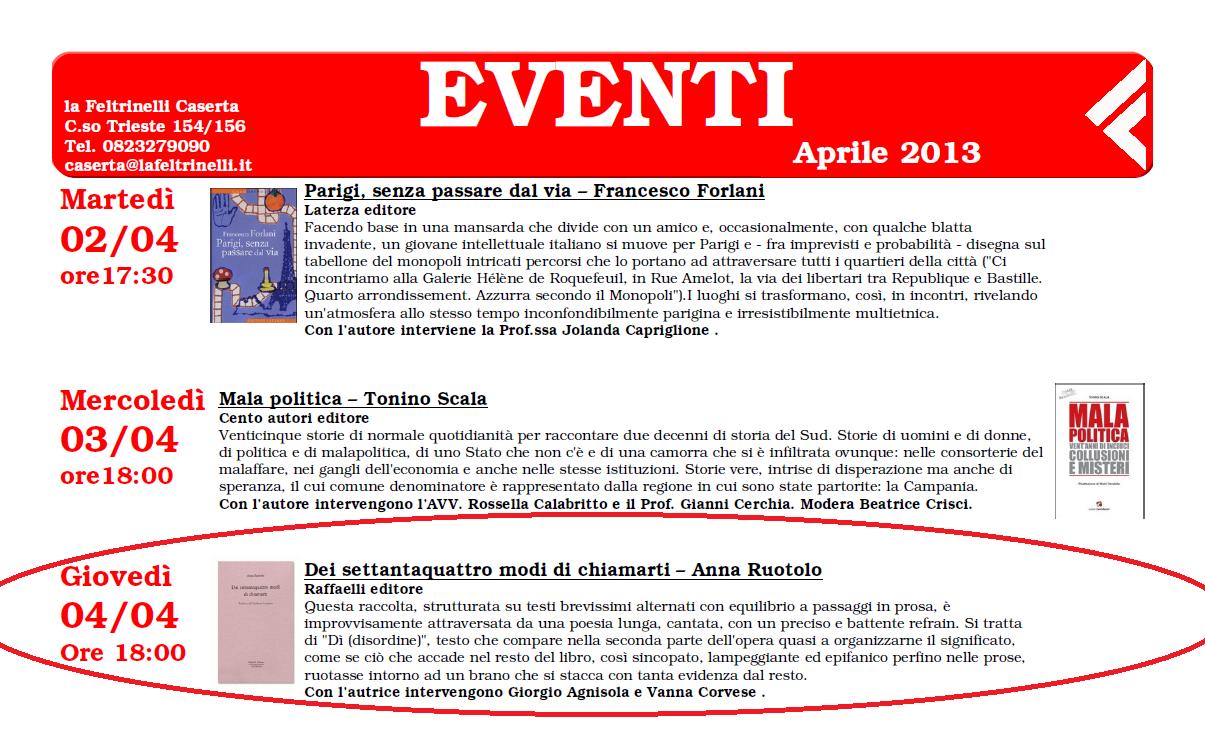 """Feltrinelli Caserta, 4/4/2013 – """"Dei settantaquattro modi di chiamarti"""""""